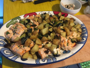 Salmone con ratatouille di verdure